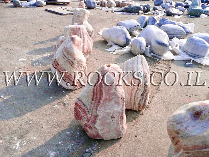 מזרקות סלע לבריכת נוי אבנים למפל רודוקרוסייט