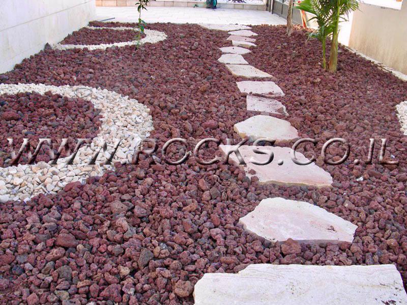 אבנים לגינה טוף אדום טוף חום שחור אבני מדרך שביל בגינה מחיר בלה שקית טוף